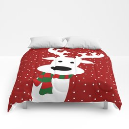 Reindeer in a snowy day (red) Comforters