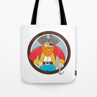 captain hook Tote Bags featuring Captain Hook Pirate Circle Cartoon by patrimonio