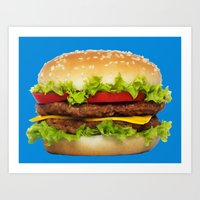 burger Art Prints featuring burger by Shanna Dunn