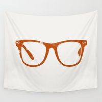 glasses Wall Tapestries featuring Glasses by magnez2