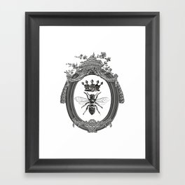 Queen Bee | Vintage Bee with Crown | Black, White and Grey | Framed Art Print
