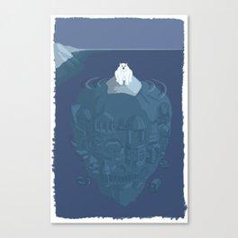 Polar bear on ice berg Canvas Print