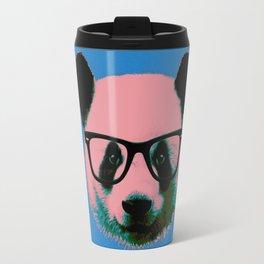 Panda with Nerd Glasses in Blue Travel Mug