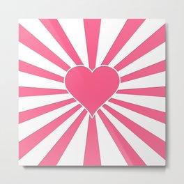 Midi Pink Valentine Sweetheart Sun rays Metal Print