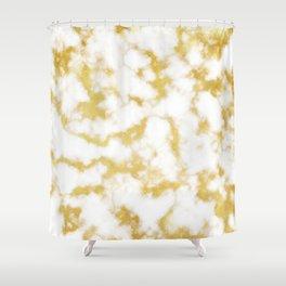 Glitzy Gold Veins on Creamy, Marshmallow Marble Shower Curtain