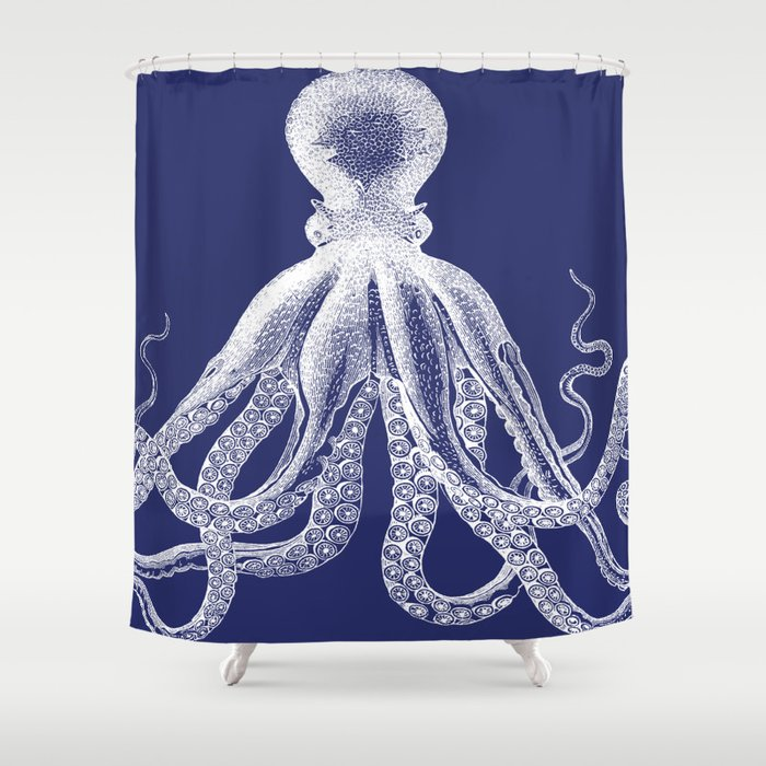 Octopus | Vintage Octopus | Tentacles | Navy Blue and White | Shower Curtain