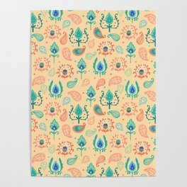 Cream Ikat Doodle Pattern Poster