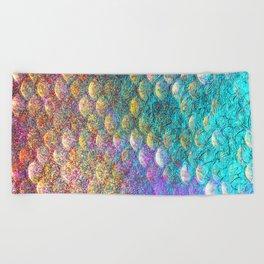 Aqua and Gold Mermaid Scales Beach Towel