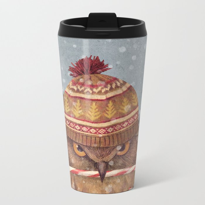 Christmas Owl  Metal Travel Mug