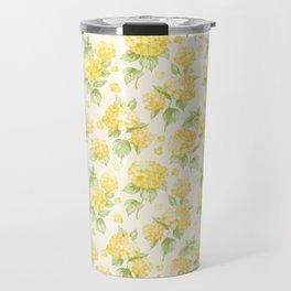 Modern  sunshine yellow green hortensia flowers Travel Mug