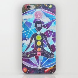 Meditation Chakra Space Tapestry Rainbow Galaxy Psychedelic Painting Art (Intergalactic Beings) iPhone Skin