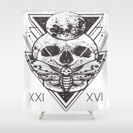Skull And Triangle Geometric Patterns Shower Curtain