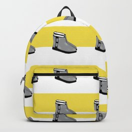 Uggs are life on white and yellow stripes Backpack