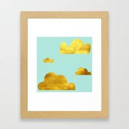 Gold cloud blue Framed Art Print