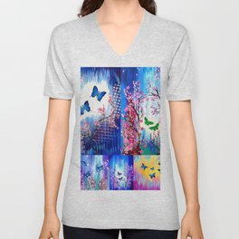 Rainbow Butterfly Unisex V-Neck