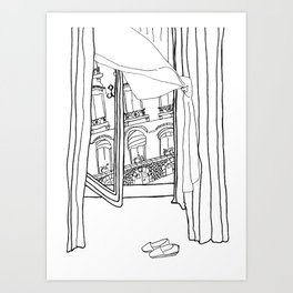 Window View in France  //  ink drawing Art Print