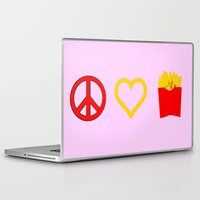 french fries Laptop & iPad Skins featuring Peace, Love, French Fries by Bunhugger Design