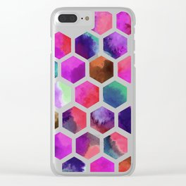 Pink Hexagons Clear iPhone Case