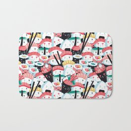 Kawaii Sushi Crowd Bath Mat