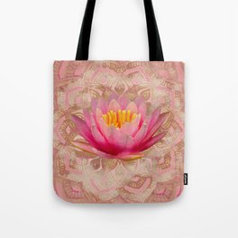 Lotus in Mandala Watercolor Gold and pastel pink Tote Bag