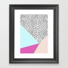 Polka dot rain geometric Framed Art Print