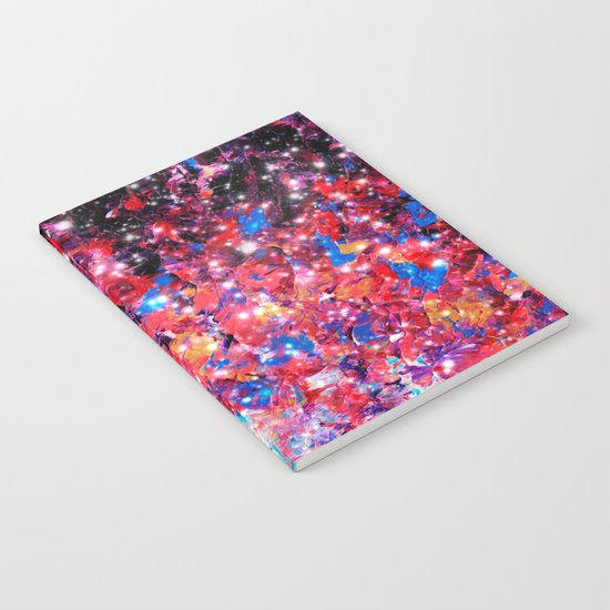 WRAPPED IN STARLIGHT Bold Colorful Abstract Acrylic Painting Galaxy Stars Pink Red Purple Ombre Sky Notebook
