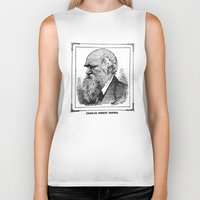 darwin Biker Tanks featuring Charles Robert Darwin by Bramble & Posy