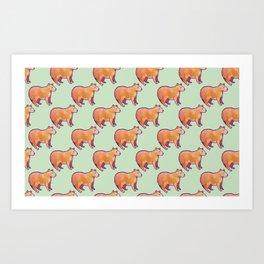 Capybara Pattern Art Print