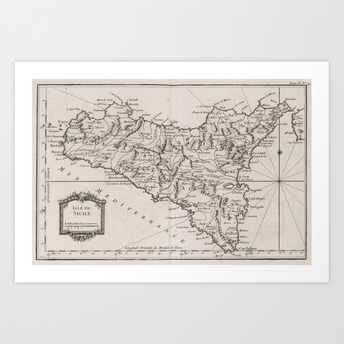 picture regarding Printable Map of Sicily identified as Classic Map of Sicily Italy (1764) Artwork Print by means of bravuramedia