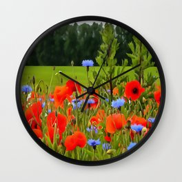 Poppies And Cornflowers Wall Clock