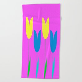 Tulips In Spring Time - Blue & Yellow on Bright Pink 3 Beach Towel