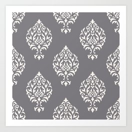 Orna Damask Pattern Cream on Grey Art Print