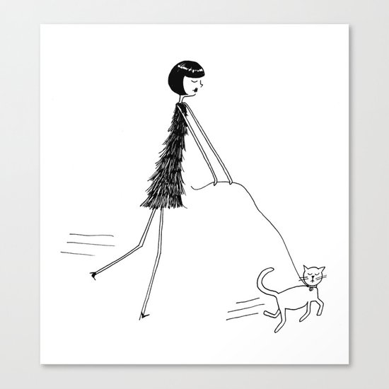 Walking the cat Canvas Print