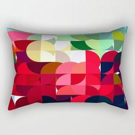 Mixed color Poinsettias 3 Abstract Circles 1 Rectangular Pillow