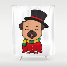 Cute Pug Dog Doggy Hound Winter Time Gift Idea Shower Curtain