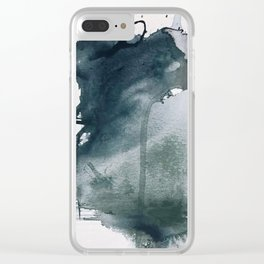 Lakeside: a minimal, abstract, watercolor and ink piece in shades of blue and green Clear iPhone Case