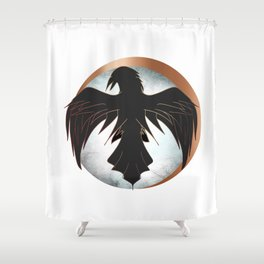Rose Gold Raven Eclipse Shower Curtain