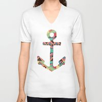 anchors V-neck T-shirts featuring you make me home by Bianca Green