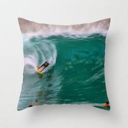 Backside Surfing at the Wedge Throw Pillow