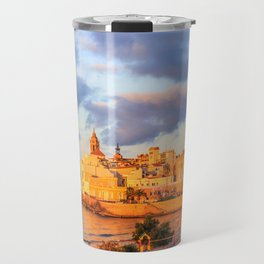 View of Sitges, Spain basking in the early morning sunshine Travel Mug