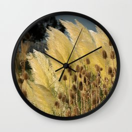 Tails of fox and thistles in the pampas. Wall Clock