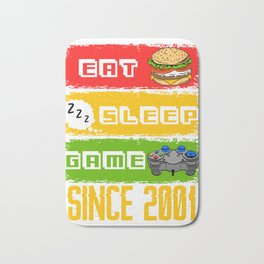 Eat Sleep Game Since 2001 Great Nice Game Tee For Gamers T-shirt Design Console Burger 18 Birthday Bath Mat