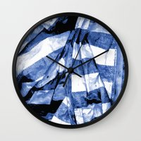 bands Wall Clocks featuring Blue Bands by Motif Mondial