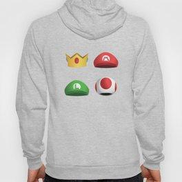 Super Mario Character Hats - White Hoody