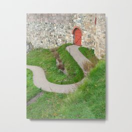 Oslo Fortress - Red Door Metal Print
