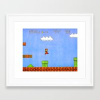 mario Framed Art Prints featuring Mario by let's build a boat
