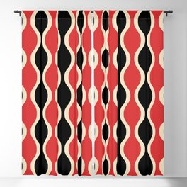 Classic Retro Ogee Pattern 937 Black and Red Blackout Curtain