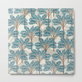 Exotic Palms No. 001 / Tropical Plants in Turquoise Metal Print
