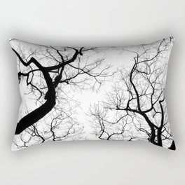 Black and white tree top silhouettes... Rectangular Pillow
