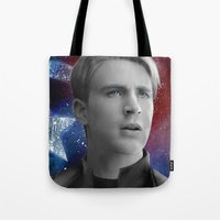 steve rogers Tote Bags featuring Steve Rogers by Caim Thomas